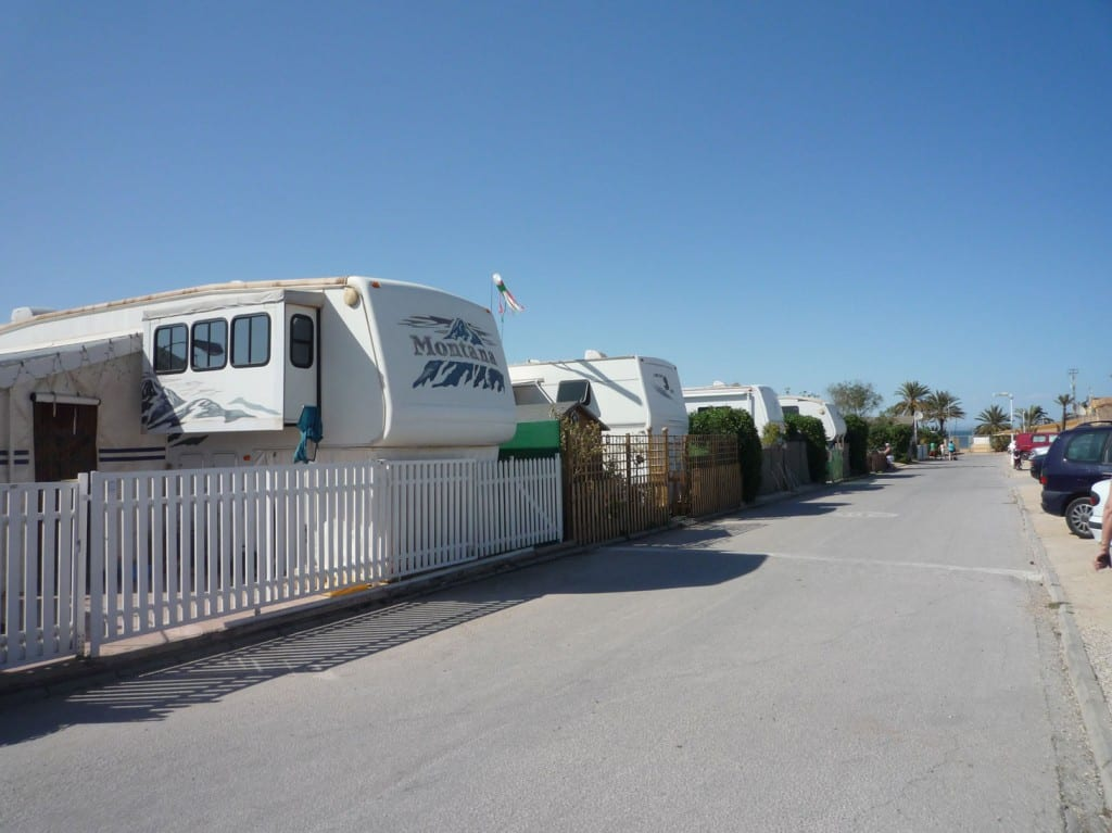 Some of the 5th wheel caravans parked up at La Manga.