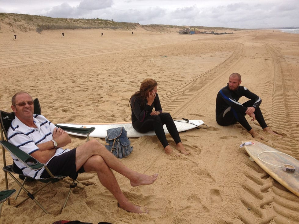 Ray, Andrew and Holly on the beach Le Porge