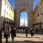 Looking through the arch to the Praca do Comercio square, Lisbon