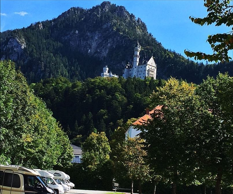 View of Neuschwanstein-Castle-from-Motorhome