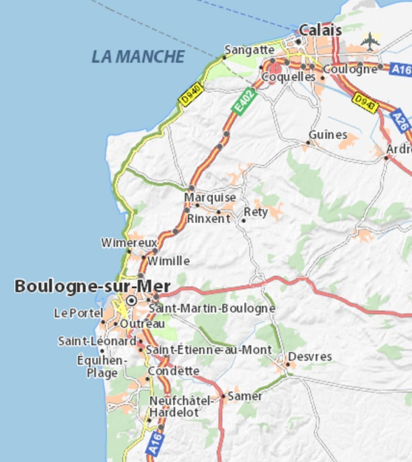 map of Boulogne area
