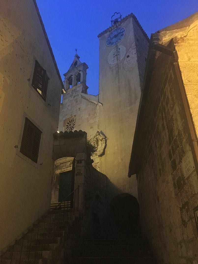Church Clock Tower & Bells at Night, Omis