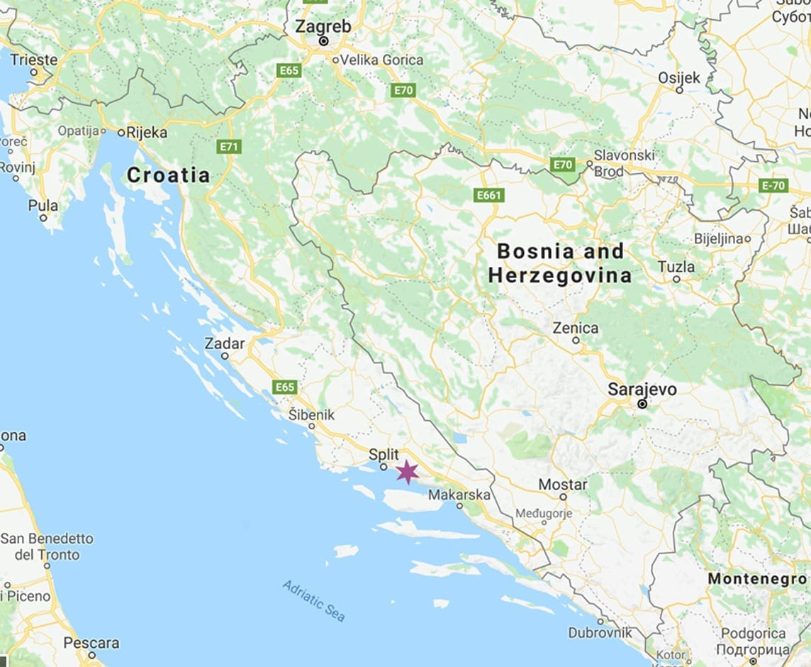 Omis is starred on tthe map of Croatia