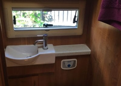 Auto-Trail Delaware 2009 toilet area with ceramic sink