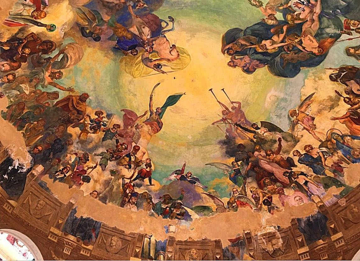 Ceiling painting in the Bandstand, Rapallo