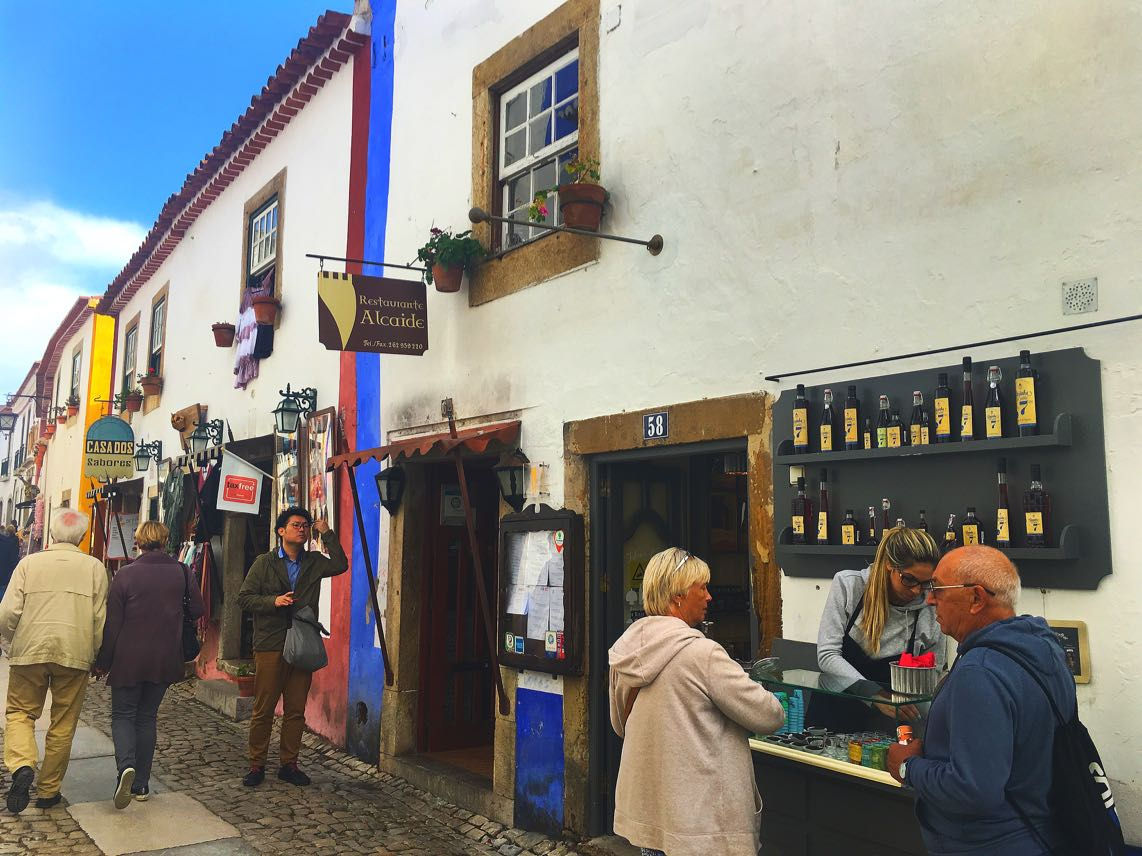 Sampling the cherry liqeur Obidos